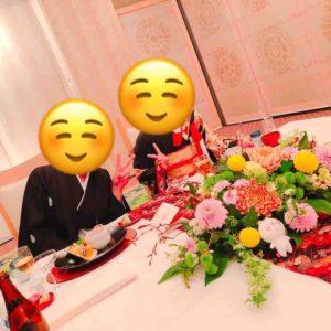熱田神宮の披露宴での新郎新婦。
